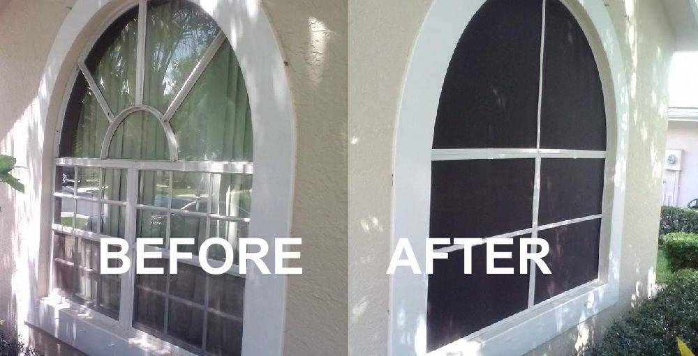 window before and after adding cool sunscreen
