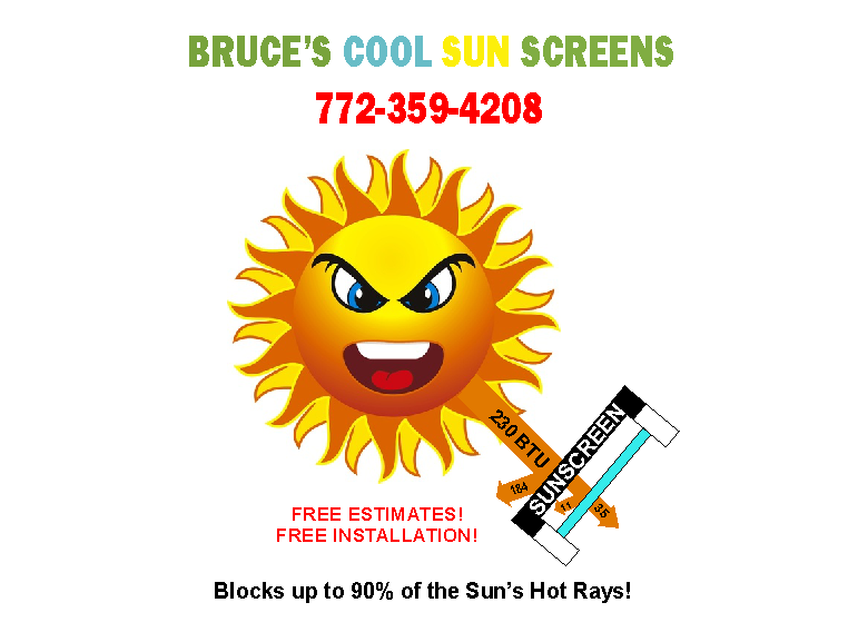 graphic of bruce's cool sunscreens showing sun's rays