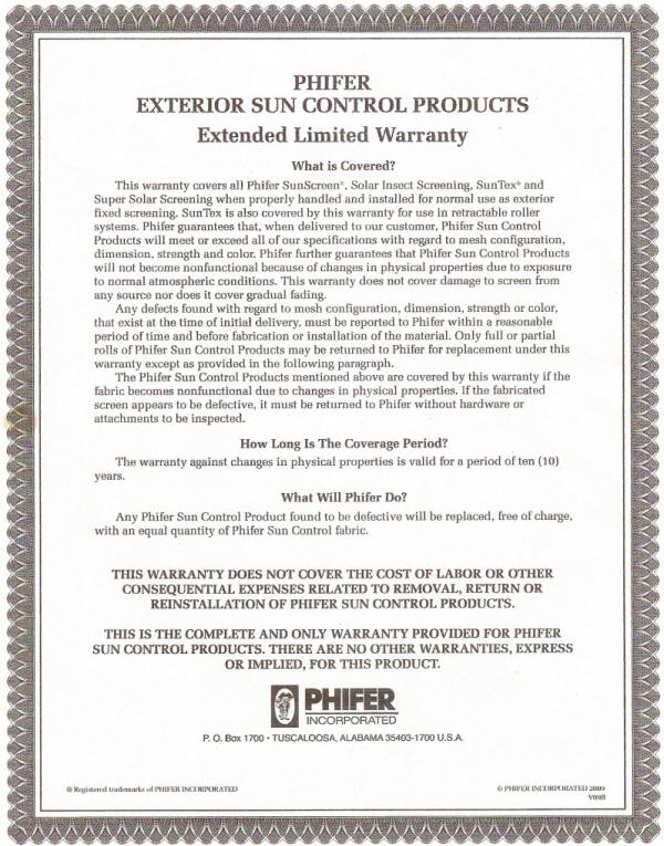 Phifer sun products warranty certificate